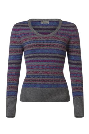 Ladies Great & British Knitwear 100% Lambswool Scoop Neck Fairisle Jumper Dove Grey E Extra Large