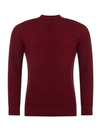 Mens Great & British Knitwear 100% Lambswool Fisherman Rib Crew Neck Jumper Magma C Medium