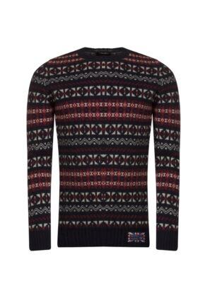 Mens Great & British Knitwear 100% British Wool Fairisle Crew Neck Jumper