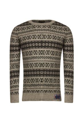 Mens Great & British Knitwear 100% British Wool Fairisle Crew Neck Jumper