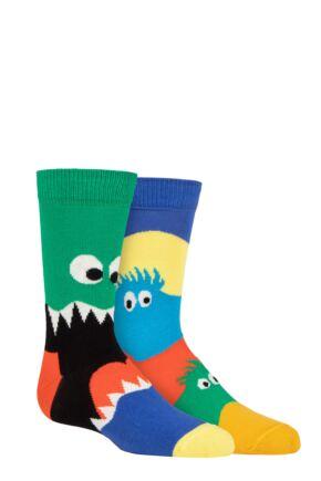 Kids 2 Pair Happy Socks Monsters Socks Multi 2-3 Years