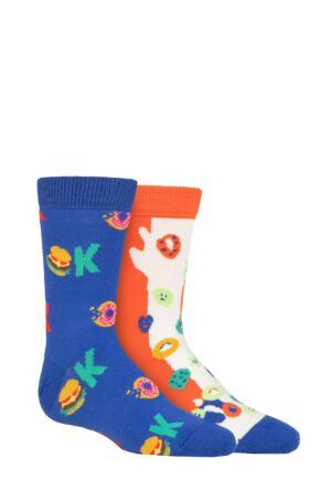 Kids 2 Pair Happy Socks Okay Cereals Socks