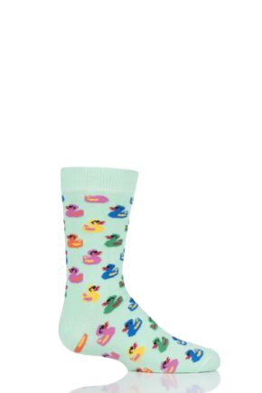 Boys & Girls 1 Pair Happy Socks Rubber Duck Cotton Socks Multi 4-6 Years