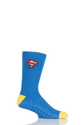 Mens 1 Pair DC Comics Superman Slipper Socks with Grips