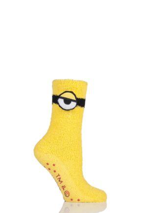 Ladies 1 Pair Minions Slipper Socks with Grips