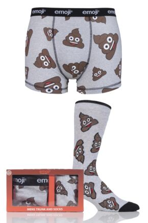 Mens SockShop Emoji Poo Boxers and Socks Set in Gift Box Grey Medium