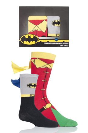 Adult and Childs SOCKSHOP Batman and Robin Gift Boxed Cape Socks