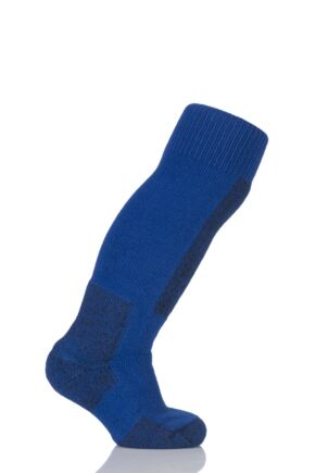 Kids 1 Pair Thorlos Ski Moderate Cushion Socks With Thorwick Laser Blue / Black 10