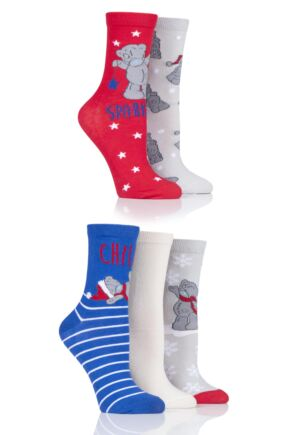 Ladies 5 Pair SOCKSHOP Tatty Teddy Cotton Socks