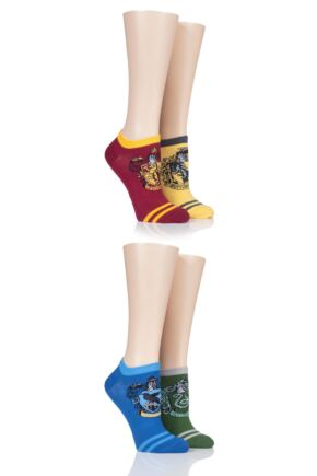 Ladies SOCKSHOP 4 Pair Harry Potter House Badges Cotton Trainer Socks