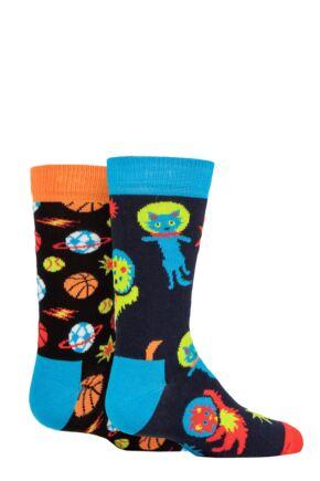 Kids 2 Pair Happy Socks Spacetime Socks Multi 4-6 Years