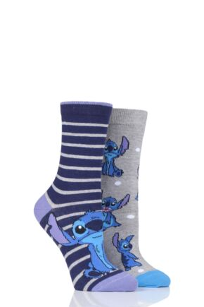 Ladies 2 Pair SOCKSHOP Disney Lilo and Stitch Cotton Socks