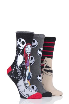 Ladies 3 Pair SOCKSHOP Disney The Nightmare Before Christmas Cotton Socks