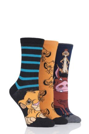Ladies 3 Pair SOCKSHOP Disney The Lion King Cotton Socks