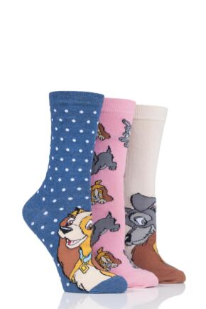 Ladies 3 Pair SOCKSHOP Disney The Lady and the Tramp Cotton Socks