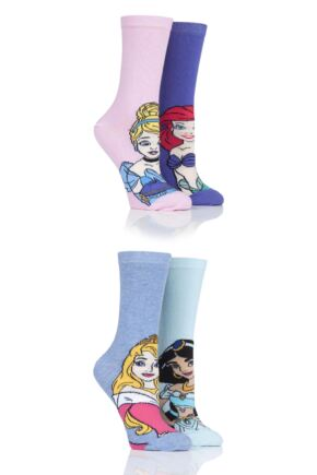 Ladies 4 Pair SOCKSHOP Disney Princesses Sleeping Beauty, Cinderella, Jasmine and Ariel Socks