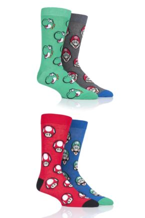 Mens and Ladies SOCKSHOP 4 Pair Mario Yoshi Toad and Luigi Cotton Socks