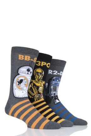 Mens SOCKSHOP 3 Pair Star Wars R2-D2, C-3PO and BB-8 Droids Pack Cotton Socks
