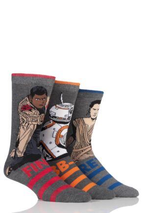 Mens 3 Pair Star Wars New Heroes BB-8, Rey and Finn Socks