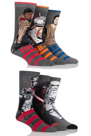 Mens 6 Pair SOCKSHOP Star Wars New Heroes and Villains Cotton Socks