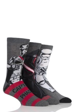 Mens 3 Pair Star Wars New Villains Kylo Ren, Captain Phasma and Storm Trooper Socks