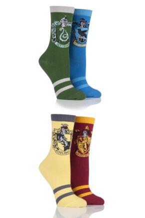 Ladies 4 Pair Harry Potter House Badge Socks