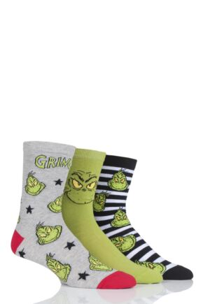 Mens and Ladies SockShop 3 Pair Grinch Cotton Socks