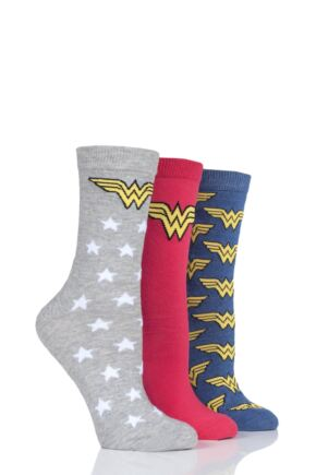Ladies SockShop 3 Pair Wonder Woman Logo Cotton Socks