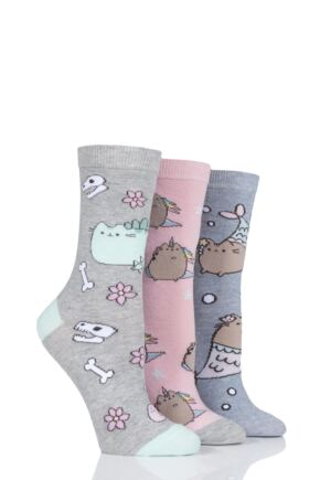 Ladies SockShop 3 Pair Pusheen Dinosaur, Unicorn and Mermaid Cotton Socks