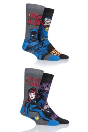 Mens SockShop 4 Pair Marvel Hawkeye, Black Widow, Black Panther and Doctor Strange Cotton Socks