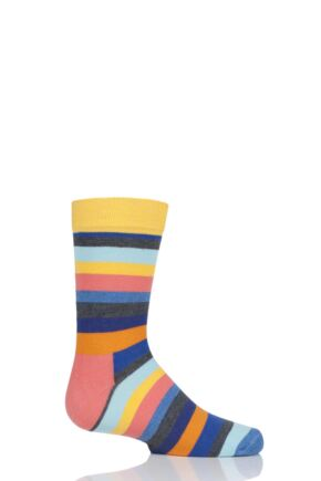 Boys & Girls 1 Pair Happy Socks Stripes Cotton Socks Yellow 2-3 Years