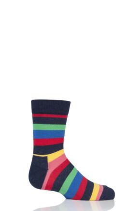 Boys & Girls 1 Pair Happy Socks Stripes Cotton Socks Navy 2-3 Years