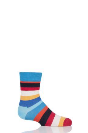 Boys & Girls 1 Pair Happy Socks Stripes Cotton Socks Blue 2 4-6 Years