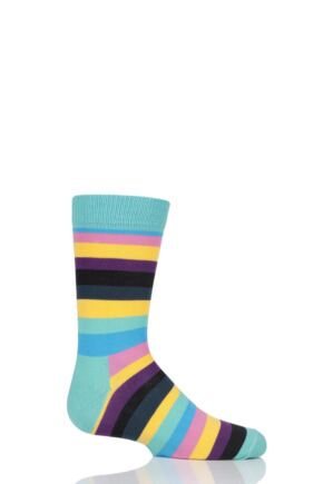 Boys & Girls 1 Pair Happy Socks Stripes Cotton Socks Blue 4-6 Years