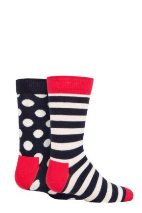 Kids 2 Pair Happy Socks Stripe Sock