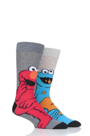 Mens 2 Pair SOCKSHOP Cookie Monster and Elmo Cotton Socks
