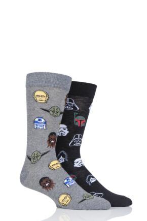 Mens 2 Pair SOCKSHOP Star Wars Cotton Socks