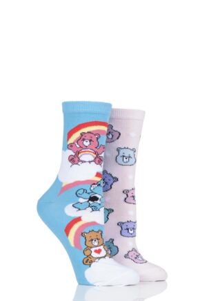 Ladies 2 Pair SOCKSHOP Care Bear Cotton Socks