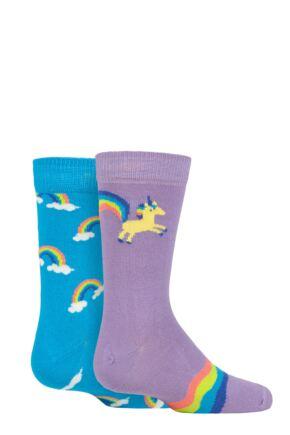 Kids 2 Pair Happy Socks Unicorn & Rainbow Socks
