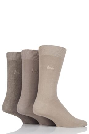 Mens 3 Pair Pringle Endrick Plain Trouser Socks Beige