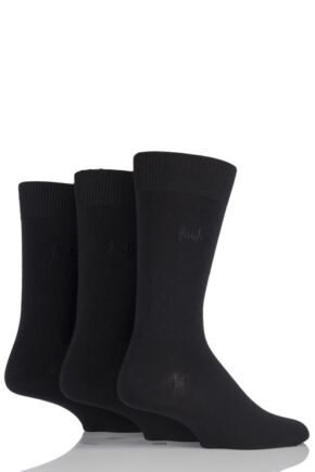 Mens 3 Pair Pringle Endrick Plain Trouser Socks Black
