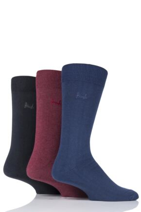 Mens 3 Pair Pringle Endrick Plain Trouser Socks Navy / Red 7-11