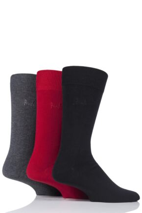 Mens 3 Pair Pringle Endrick Plain Trouser Socks Black / Red / Grey 7-11