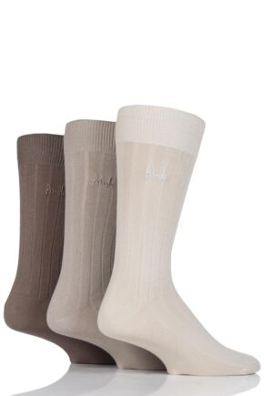 Mens 3 Pair Pringle Laird Rib Trouser Socks Beige