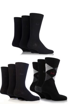 Mens 9 Pair Pringle Plain Rib and Argyle Cotton Socks - Save £6.98