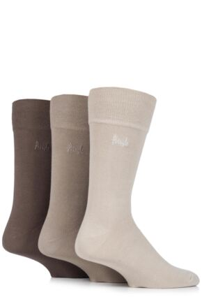 Mens 3 Pair Pringle Dunvegan Comfort Cuff Plain Cotton Socks Beige