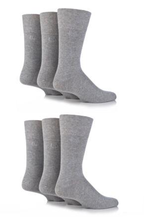 Mens 6 Pair Pringle Dunvegan Comfort Cuff Plain Cotton Socks