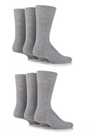 Mens 6 Pair Pringle Dunvegan Comfort Cuff Plain Cotton Socks