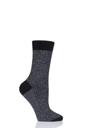 Ladies 1 Pair Pantherella Larissa Sparkle Ribbed Cotton Cashmere Socks