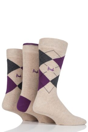 Mens 3 Pair Pringle New Waverley Argyle Patterned and Plain Socks Beige 2